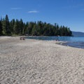 View north along the park's expansive beach toward Sugar Pine Point.- The Beaches of Tahoe