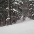 Storm riding on Rubicon Peak.- Backcountry Skiing in California