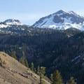 Lassen Peak rises above the Lassen Loop Road/Highway 89.- A Guide to Fall Adventure in California