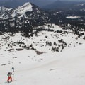 Ascending the summit trail in spring to ski from Lassen's summit.- Lassen Volcanic National Park