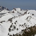 Lassen's peaklets run southwest from her main peak, an area once filled by Mount Tehama. From right to left: Eagle Peak (9,222 ft), Pilot Pinnacle (8,886 ft), Mount Diller (9,087 ft), and Brokeoff Mountain (9,235 ft).- Exploring California's 9 National Parks
