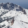 Brokeoff Mountain (9,235 ft) and Neutrino Couloir as seen from near Lassen's summit.- Lassen Volcanic National Park