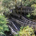 A flume-trail leading down to Rush Creek on Independence Trail.- Celebrate Your Independence