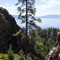 Multiple rock outcroppings form the volcanic plug that is Eagle Rock.- Ultimate Guide to Lake Tahoe