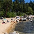 Speedboat Beach on Brockway Point.- The Beaches of Tahoe