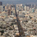 Downtown San Francisco's Market Street as seen from Twin Peaks.- Adventure in the City: San Francisco