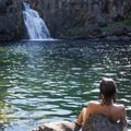 Relaxing after a swim at Upper Falls on the McCloud River.- Examining The Sacramento Watershed: The People