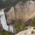 Lower Yellowstone Falls seen from the famous staircase of Uncle Tom's Trail.- Yellowstone National Park