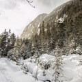 Approaching Avalanche Lake.- Exploring 5 Frozen Wonderlands of America