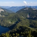 Looking down on Mason Lake, Little Mason Lake, Lake Kulla Kulla from Mount Defiance.- 5 Amazing Hikes in the Alpine Lakes Wilderness