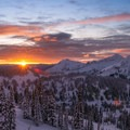 Sunrise on the Tatoosh Range from Edith Creek Basin.- Winter in Mount Rainier National Park