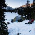 Camp above Royal Lake.- Backcountry Skiing in Washington