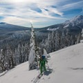 Beautiful views of Mount Bachelor (9,068 ft) on the skin up to Todd Lake ridge.- Snowventure