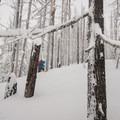Traversing northeast along the ridgeline at Yodelin.- Backcountry Skiing in Washington