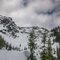 Getting the first views of the Source Lake Basin.- Backcountry Skiing in Washington