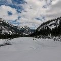 Looking down the valley to Alpental from Source Lake.- Winter Retreat at Snoqualmie Pass