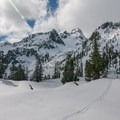 Dramatic views of Chair Peak near Snow Lake.- Winter Retreat at Snoqualmie Pass