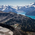 The view from the ridge at the base Black Tusk. Garibaldi Lake and Mount Garibaldi top right.- Climb a Mountain