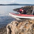A kayaker at Blind Island.- Kayaking in the San Juan Islands
