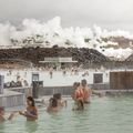 Steam from Svartsengí over the horizon.- Must-Visit Hot Springs in Iceland