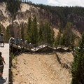 Stairs descending to Red Lookout Point.- Yellowstone National Park