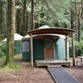 Typical yurt campsite at Carl G. Washburne Memorial State Park Campground.- Best Year-Round Camping in Oregon