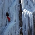 Climber making their way up the ice.- Ouray Ice Park