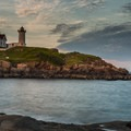 Sunset at the Cape Neddick Lighthouse.- Guide to East Coast Lighthouses