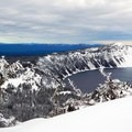 View of Crater Lake from the top of Garfield Peak.- Winter Adventures in Crater Lake National Park