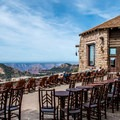 Outdoor patios at the Grand Canyon Lodge.- Grand Canyon Lodging: 15 Best Accommodations In and Out of the National Park