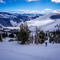 Skinning up the flank of Elk Lips, a top run in the area.- Backcountry Skiing + Education near Sun Valley, Idaho