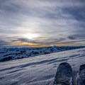 Sunset skiing in the Pioneers with views of the Sawtooths in the distance.- Backcountry Skiing + Education near Sun Valley, Idaho