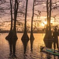 Enjoying the setting sun from Lake Bruin Water Trail.- Adventurer's Guide to Central Louisiana