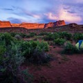 Camping at Super Bowl Campground in Indian Creek.- Bears Ears National Monument