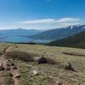Looking down toward Twin Lakes from the trail up Mount Elbert.- Gorgeous Colorado Lakes for Summer Adventure