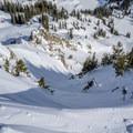 Charging down the Seagull Chute.- Great Backcountry Skiing Near Salt Lake City, Utah