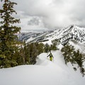 Treading carefully on the heavily corniced ridgeline up Mount Raymond.- Great Backcountry Skiing Near Salt Lake City, Utah
