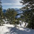 Skinning above Idaho's highest road.- Backcountry Skiing + Education near Sun Valley, Idaho