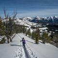 Skinning up the ridgeline of Galena Summit to access the skiing terrain.- Backcountry Skiing + Education near Sun Valley, Idaho