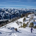 Skinning up with a sea of mountains in the background.- Backcountry Skiing + Education near Sun Valley, Idaho