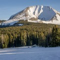 Mount Mellenthin looms over the Geyser Pass yurt.- 10 Awesome Yurts for Winter Adventure