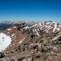 Descending from the summit of Wilson Peak.- High Uintas Wilderness