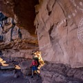 Rock art near Peek-a-Boo springs in Canyonlands National Park.- Native American Petroglyphs, Pictographs, and Artifacts