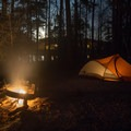 Moonrise over one of the great primitive campsites in South Toledo Bend State Park.- Louisiana's Cypress and Sea