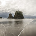 View toward Crying Lady Rock and the Quillayute Needles from La Push, Second Beach.- Sink Your Toes into Miles of Sand