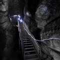 Stairway descending to upper and lower Ape Cave options.- Exploring Mount St. Helens