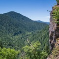 The trail climbs steeply from the trailhead, offering views of Highway 6 and the Wilson River below.- Saving Oregon's State Forests