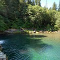 Salmon River Falls on the Little North Fork Santiam River, Oregon.- Plunge Into Swimming Holes