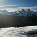 From the Paradise Valley Loop, the view south toward the Tatoosh Range (Unicorn Peak, The Castle, and Pinnacle Peak).- Winter in Mount Rainier National Park