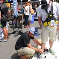 Next Adventure's Michael Bowersox get's folks set to test out a SUP.- Outdoor Project's 2017 Block Party Series